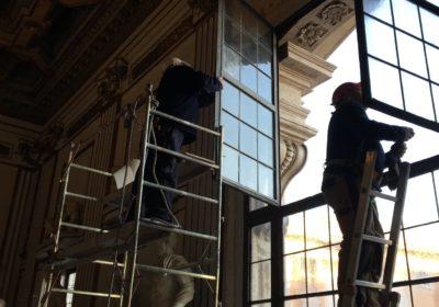 Vetrate a piombo del palazzo in Campidoglio .